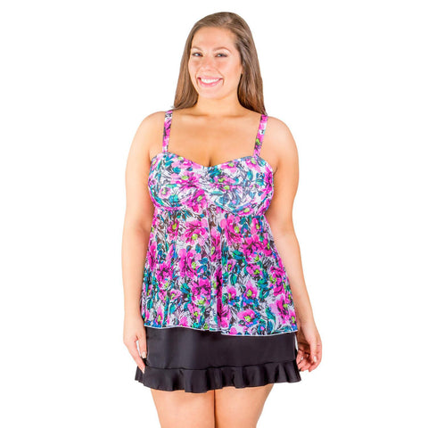 Pink Floral Fly Away Mesh Tankini Swim Top - Final Clearance - NO RETURNS