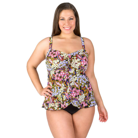Piccadilly Ruffle Bottom Plus Size Swim Top