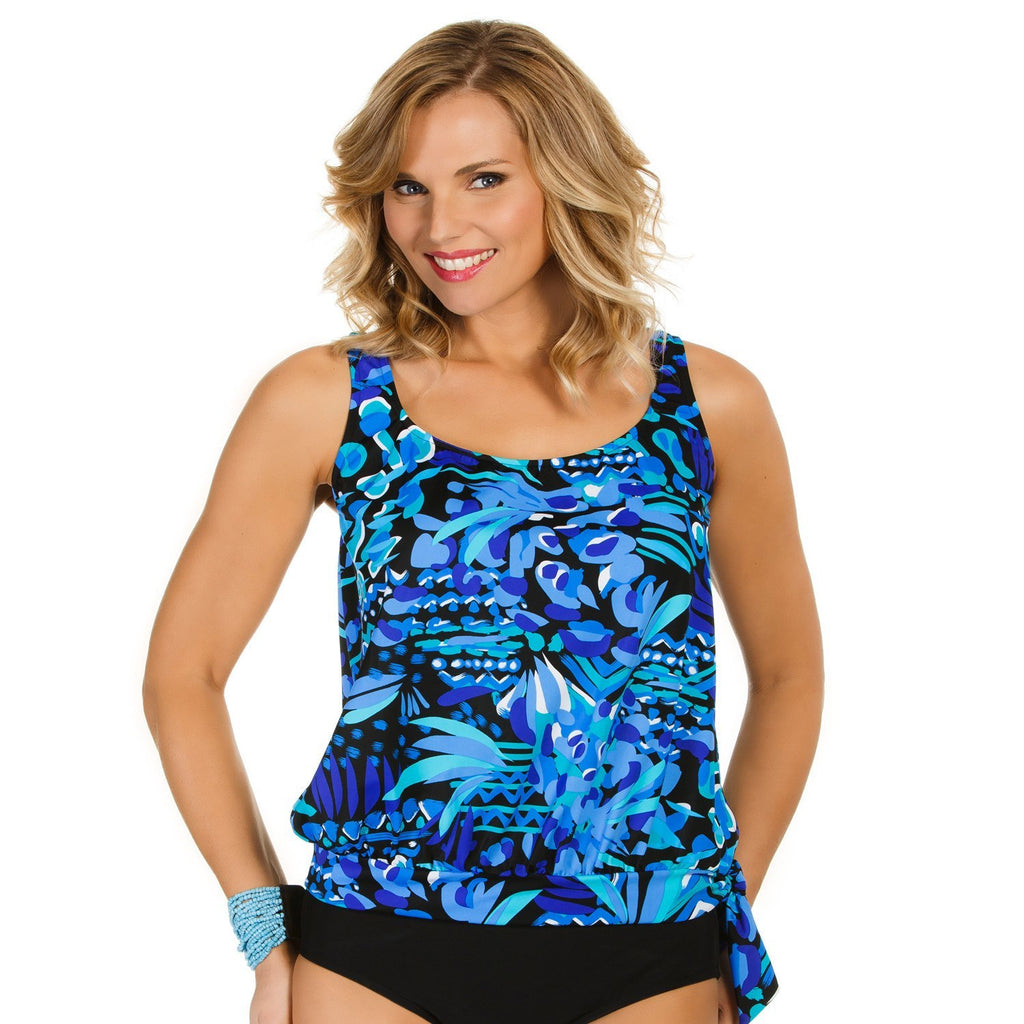 Plus Size Blouson Swimsuit Top - Caribbean Play - Swim Separates - Penbrooke Beach-SwimsuitsJustForUs.com - 1