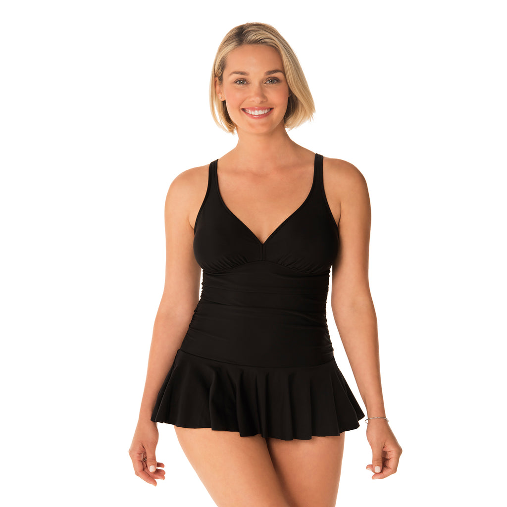 Penbrooke Swimsuits - Skirted Plus Size One-Piece Swimsuit - SwimsuitsJustForUs.com - Style number 5529290X - Front View