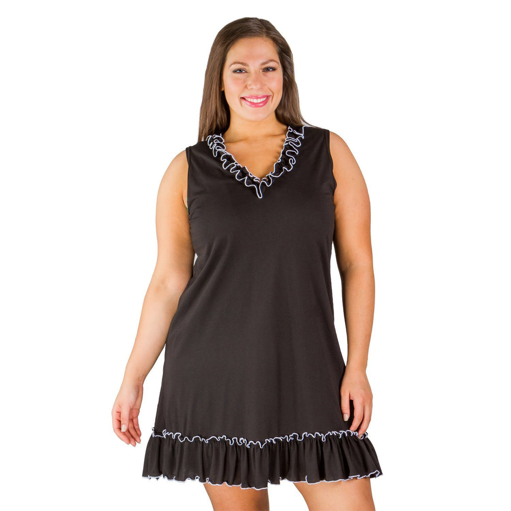 Black Ruffle Plus Size Women's Cover-up - Cover-up - Swimsuits Just For Us-SwimsuitsJustForUs.com