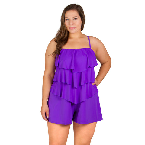 50% OFF - Fit 4U Plus Size Romper Shortini Bandeau Swimsuit  - Lavender
