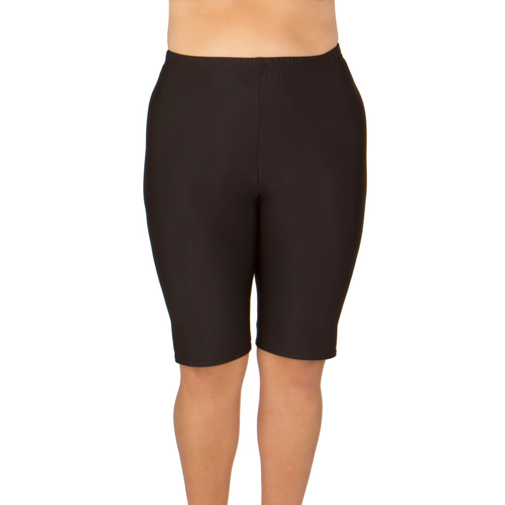 Women s Plus Size Swim or Bike Shorts - Long (Black)  66875e5f5