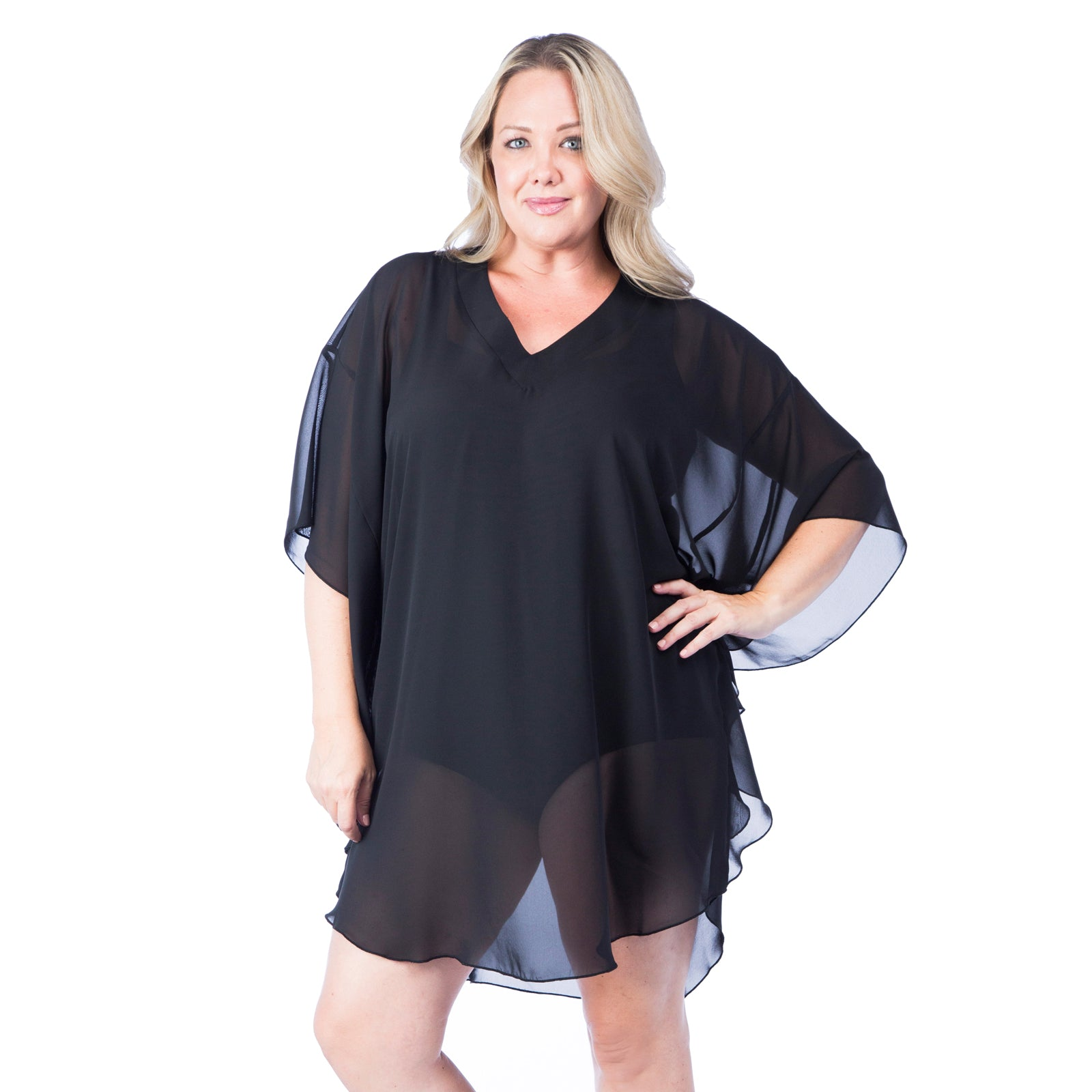 Maxine Black Sheer Plus Size Cover-Up
