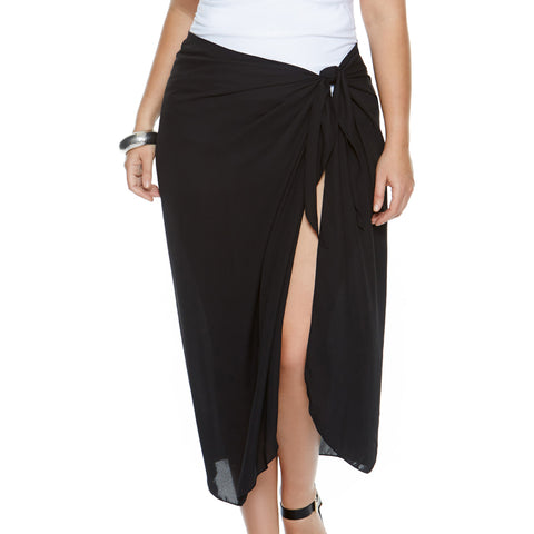 Black Sarong, Plus Size Georgette Pareo, Long- Black