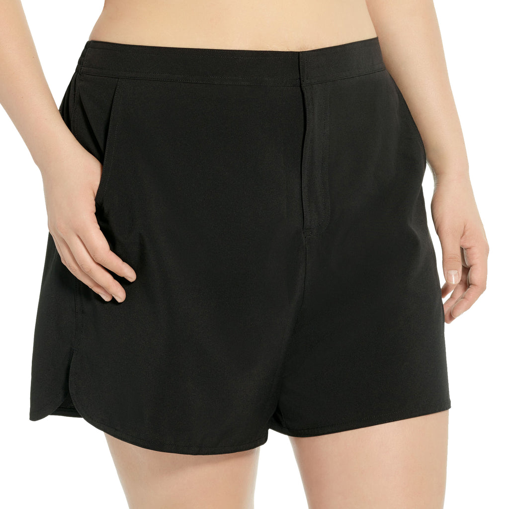 Christina Plus Size Swim Short with Built in Pant- Black