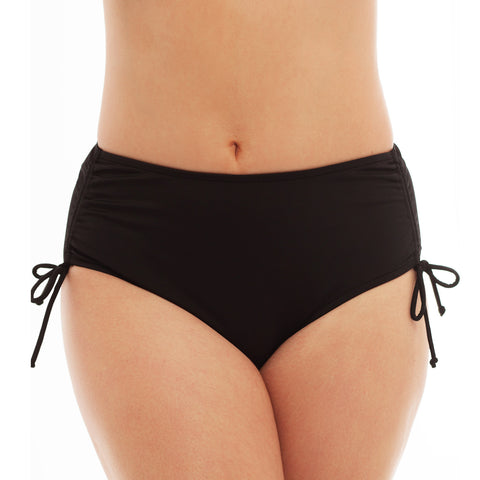 Plus Size Swim Bottoms with Adjustable Side Ties and Tummy Control