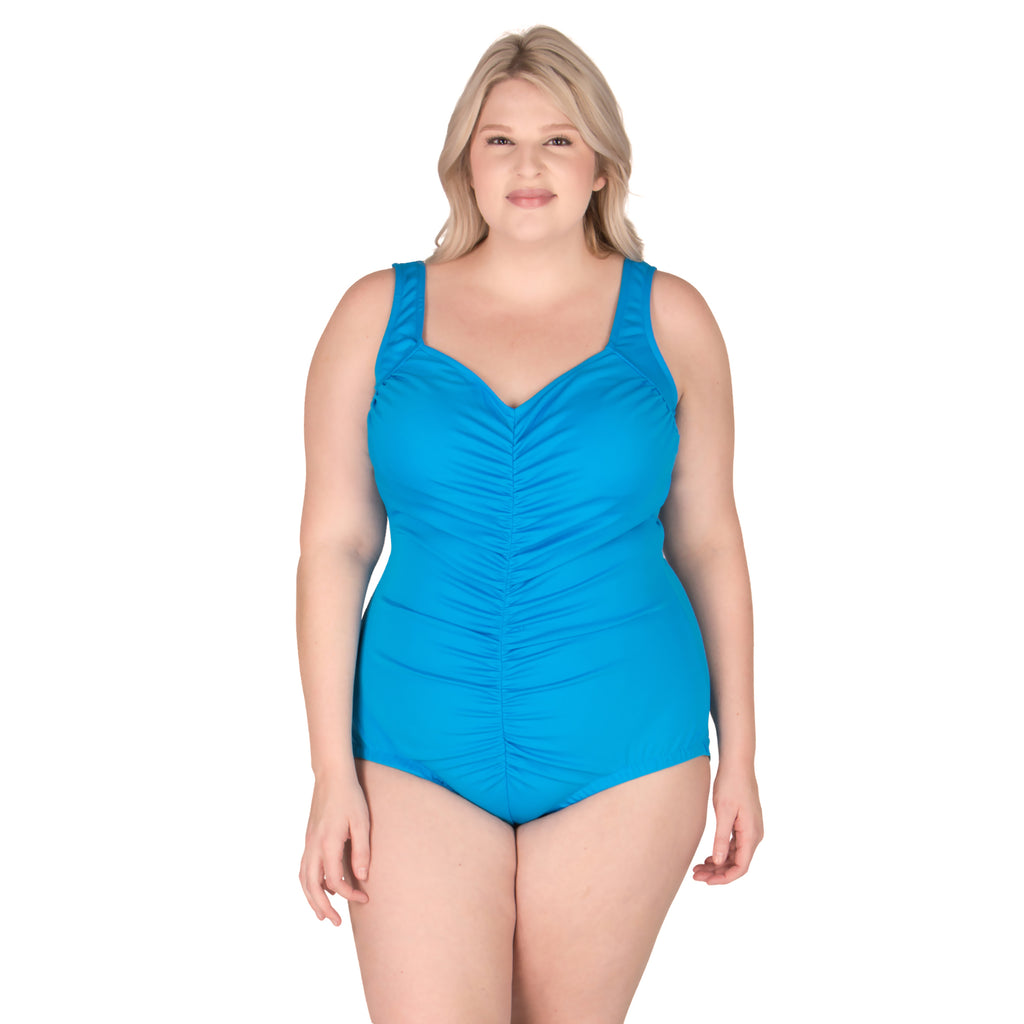 Chlorine resistant swimwear - Maxine swimsuits - Plus Size Blue