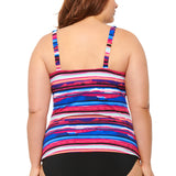 Christina Plus Size Tankini Top - Striking Horizon Twist Front Tankini