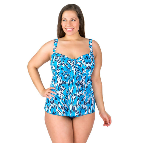 Farrah Leopard Waterfall Drape Plus Size Swimwear Top