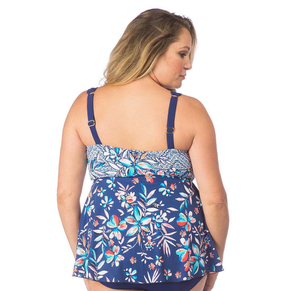 f764beaeb8 Plus Size Flyaway Tankini One-piece Swimsuit by Maxine Swimsuits ...