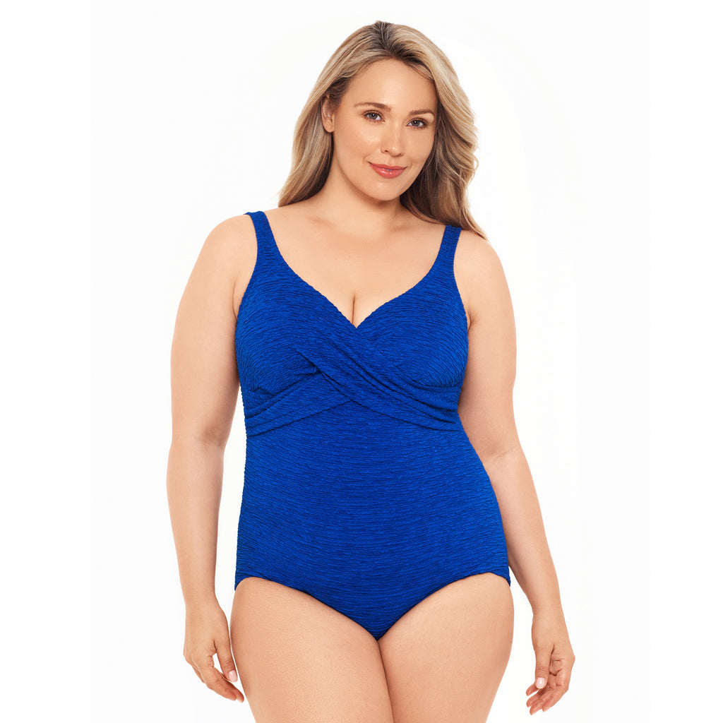 FRONT - Chlorine Resistant Swimsuits - Krinkle Twist Top Polyester 1pc Plus Size Swimsuit - Royal - Polyester - Penbrooke-SwimsuitsJustForUs.com, Plus Size Women's Swimwear, Plus Size Ladies Swimwear, Plus Size Bathing Suits, Plus Size Tankini Swimsuits, Plus Size Swim Tops,