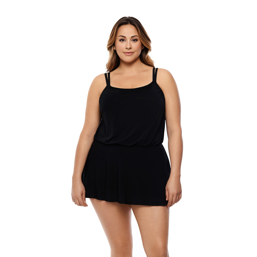 Longitude Women's Swimsuit Shirring Chic Black Blouson Swimdress | Swimsuits Just For Us.com | Front View