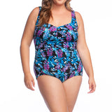 Maxine Spa Suit - Plus Sized Water Aerobics Swimsuits, Style MW9MA21 MULTI, Front View