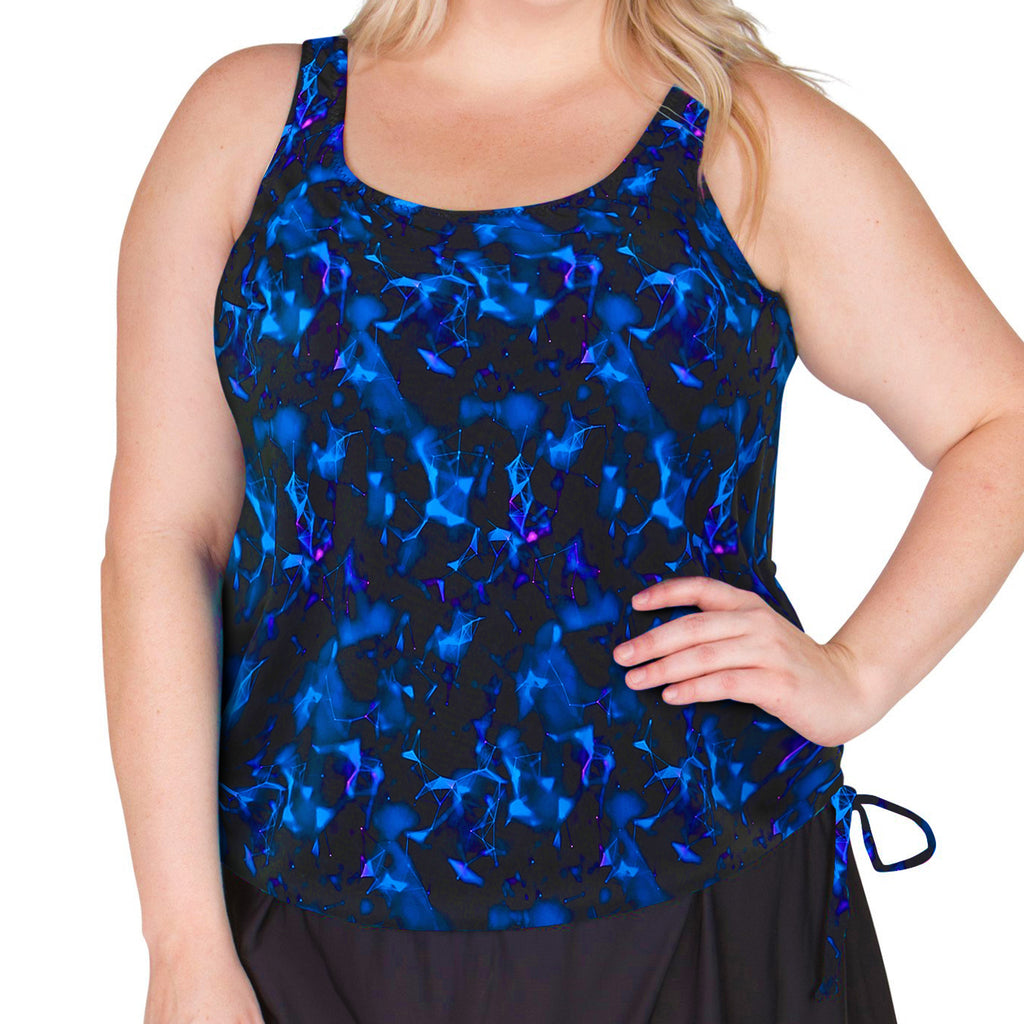 Find Plus Size Mastectomy Swimwear here at SwimsuitsJustForUs.com . Swimwear with Prosthesis Pockets and comfortable fit . Style 16W-80-763 Front View