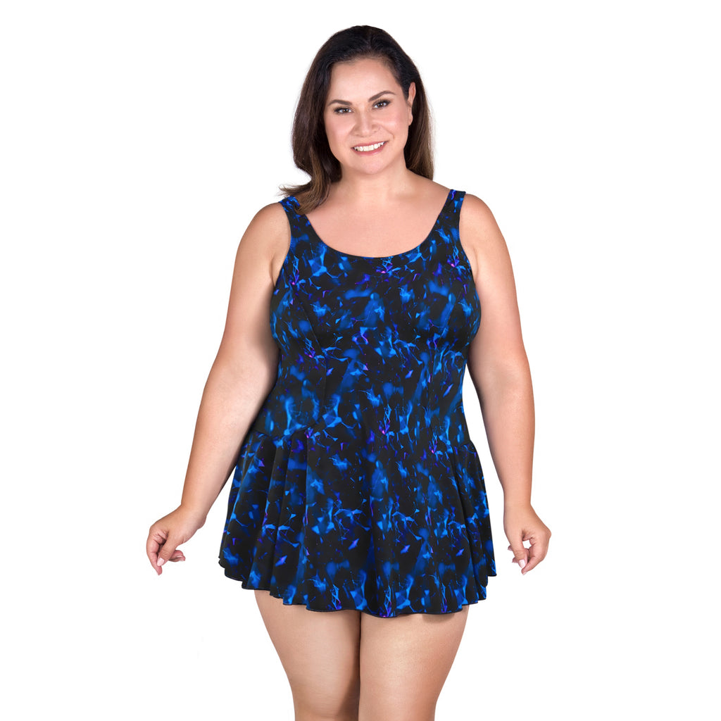 Plus Size Swimdress From T.H.E. Swimwear Style 996-80-763 Front View