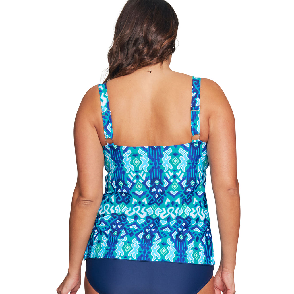 5ab9f4cf51 Mazu Plus Size Swim Top at Swimsuits Just For Us -Turquoise-Back View