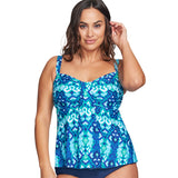 Mazu Plus Size Swim Top at Swimsuits Just For Us -Turquoise-Front View