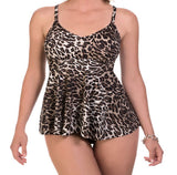 Women's plus size bathing suit with underwire - leopard print - model view
