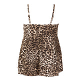 Women's plus size bathing suit with underwire - leopard print - back view