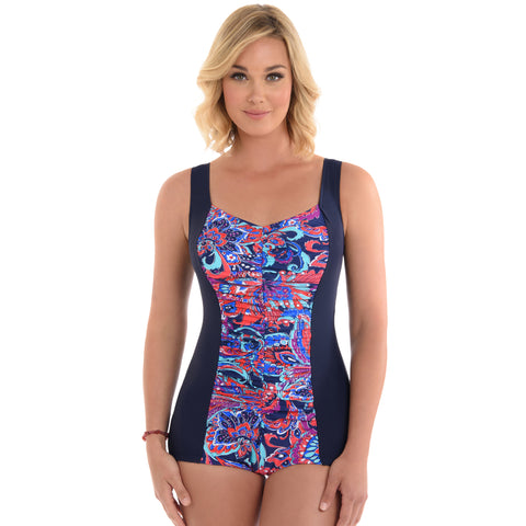 09a659914c Penbrooke Shirred Girl Leg One-Piece Plus Size Swimsuit - No Wall Flowers