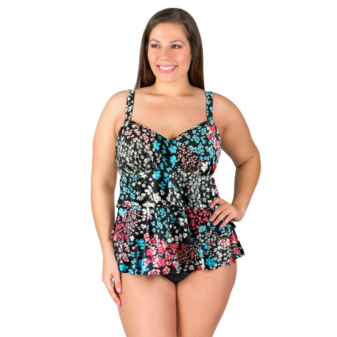 Penbrooke Triple Tier Ruffle Swim Top - Hillside - Limited Quantities