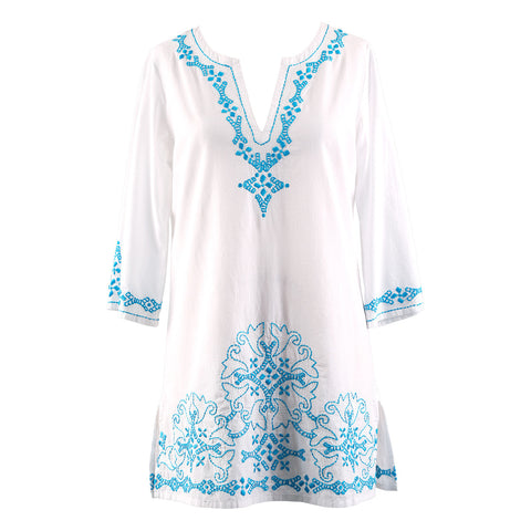 Plus Size Cover-Ups - Embroidered Cotton Top / Cover-up - Caribbean Breeze