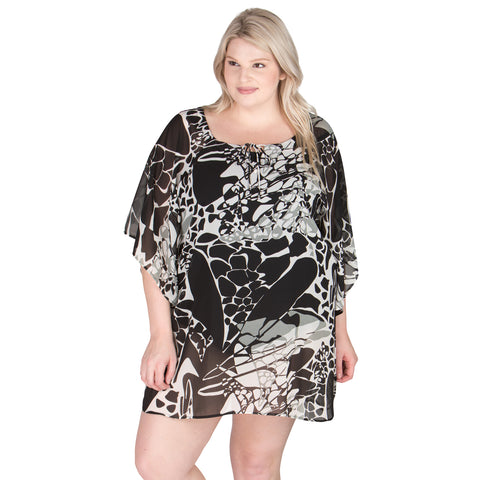 Plus Size Swim Cover Up - Black and White - Peppermint Bay