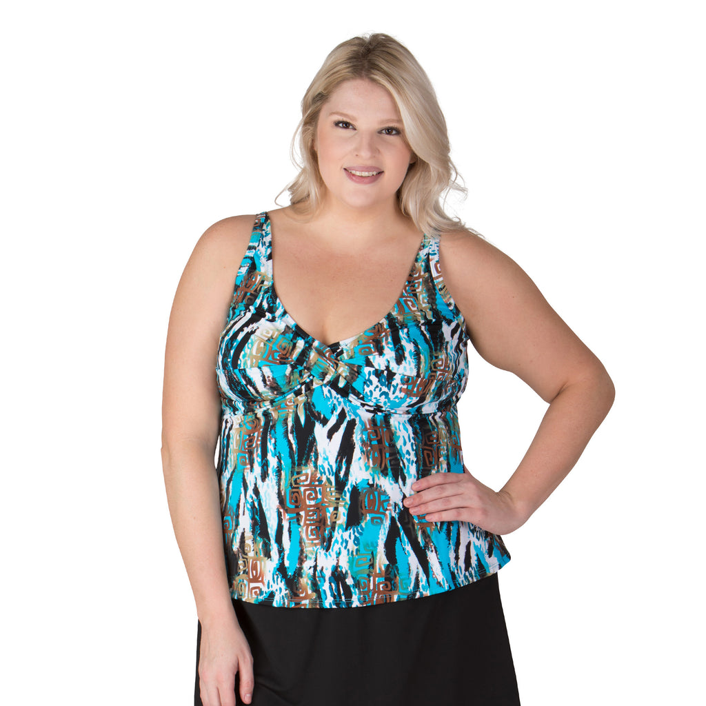Dynasty Twist Front Plus Size Swim Top - Swim Separates - Topanga-SwimsuitsJustForUs.com - 1