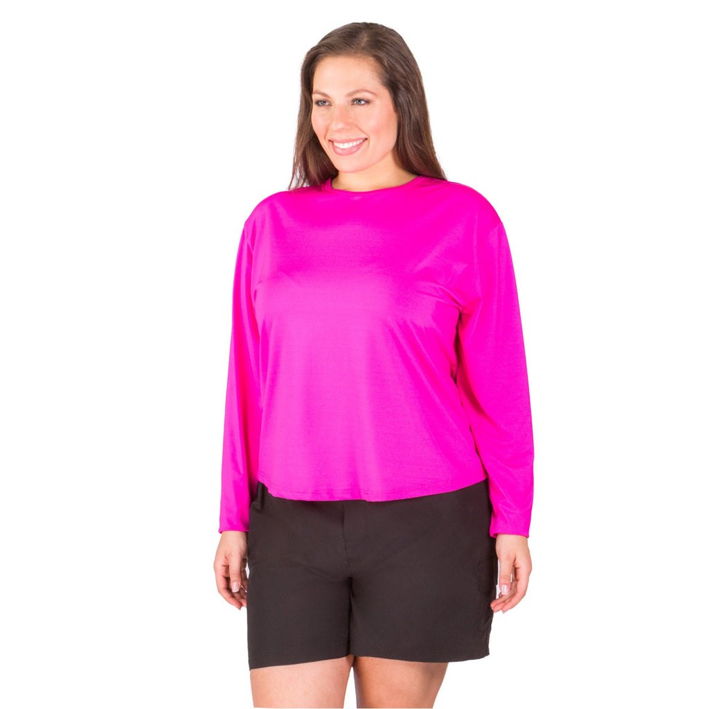 Long Sleeve Swim Top -Women's Plus Size Rashguard -UPF 50+ - Available in WHITE, BLACK, PINK, and NAVY - 2
