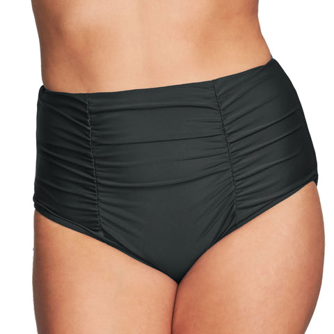 Mazu Retro Swim Bottom - Ruched Retro High Waist Brief