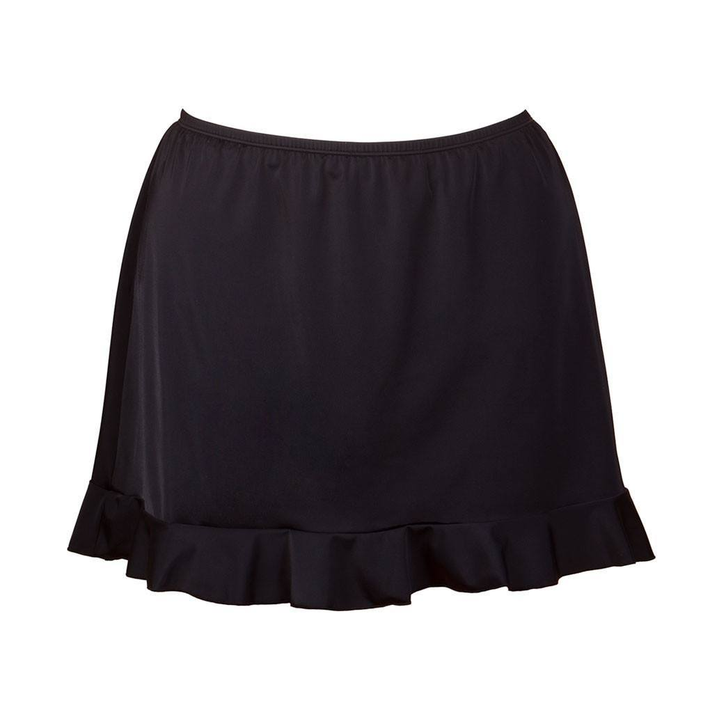 Fit4U Black Plus Size Swim Skirt with Ruffle Trim - Swim Separates - Fit 4 U-SwimsuitsJustForUs.com
