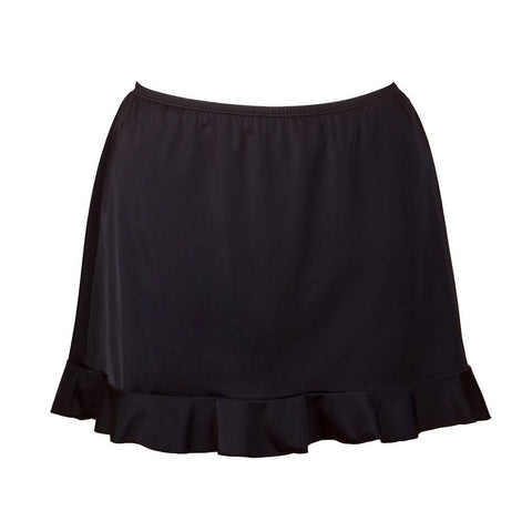 Fit4U Black Plus Size Swim Skirt with Ruffle Trim