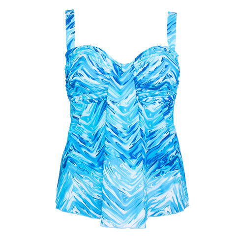 Waterfall Drape Plus Size Swimwear Top -   Eden's Island Blue