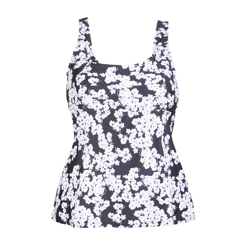 Underwire Plus Size Swimwear Tankini Top,  Black with Silver Foil