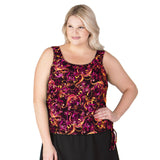 Day Dreaming Blouson Plus Size Long Swim Top - Sunset