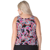 Topanga Swimwear at SwimsuitsJustForUs.com - Paisley Long Swimsuit Top Back View