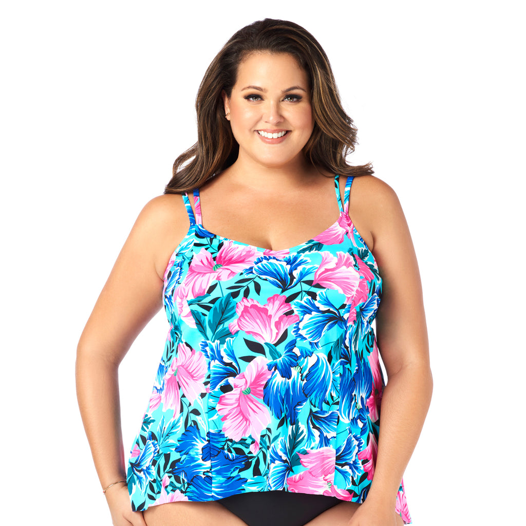 Plus-Size Swimsuit Tankini Top - Petal Show