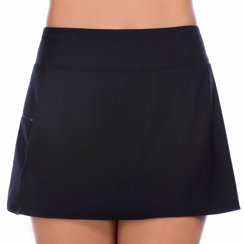 Skort Swim Bottom with Boy Leg Short - Available in BLACK and NAVY - Swim Separates - Penbrooke Beach-SwimsuitsJustForUs.com, Plus Size Swim Bottoms, Swim Shorts, Women's Plus Size Board Shorts