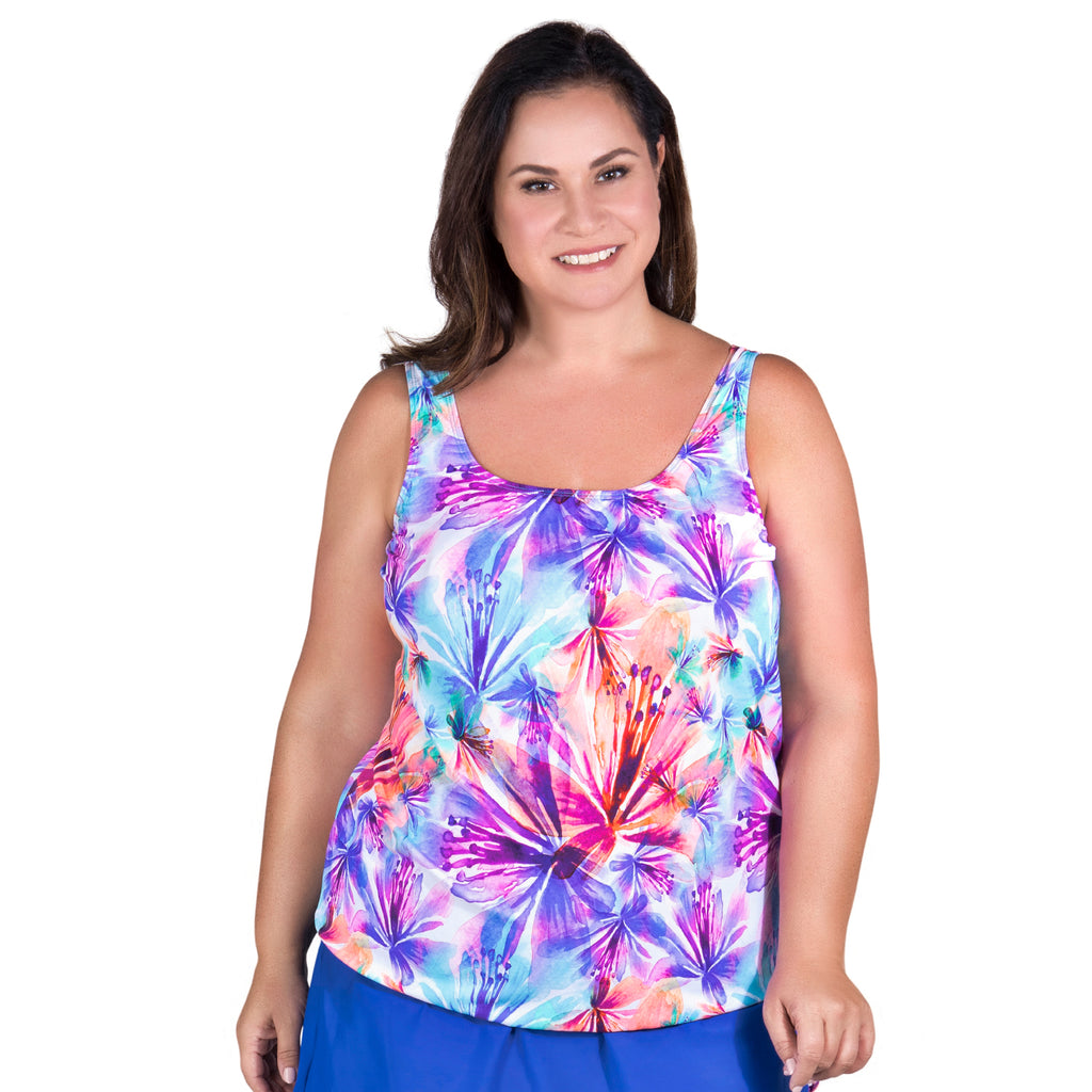 7f173296c Women s Long Swimwear Top by Topanga - Heavenly Hibiscus - Curvy ...
