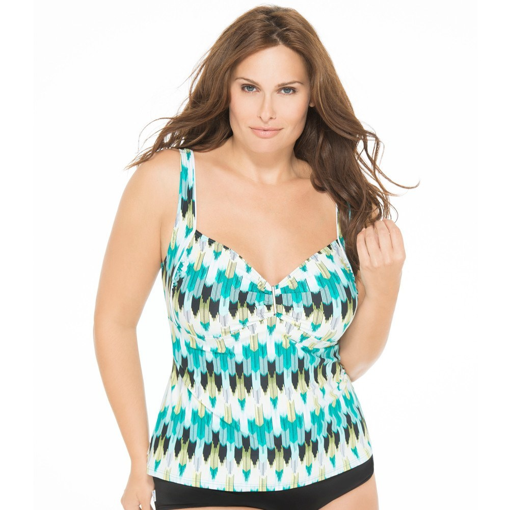 Waterfall Effect Plus Size Tankini Swim TOP - Swim Separates - Captiva-SwimsuitsJustForUs.com - 1