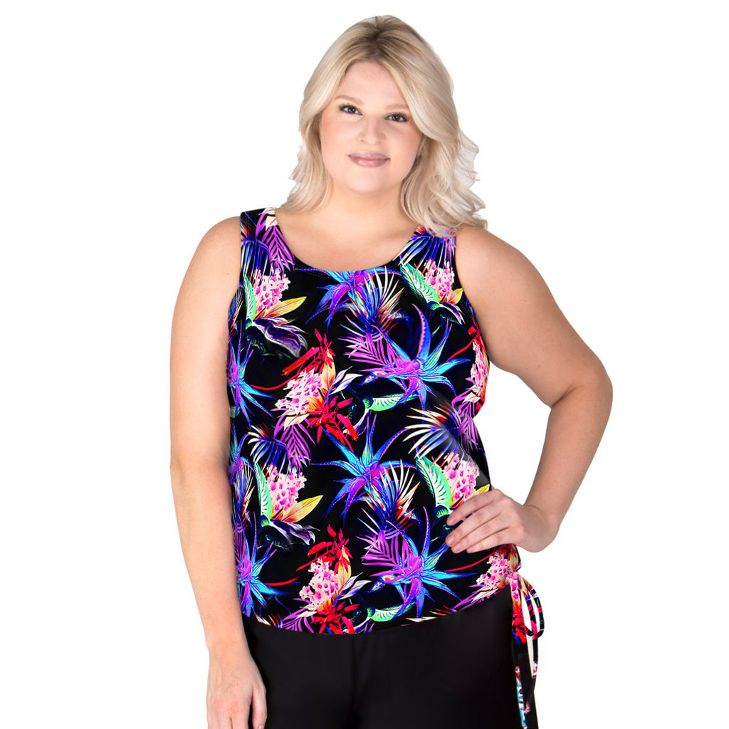 Wear Your Own Bra Plus Size Swim Top - Paradise - Swim Separates -T.H.E. Swimwear - SwimsuitsJustForUs.com - Front