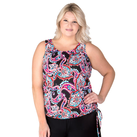 MADE IN USA-Wear Your Own Bra Plus Size Swimwear Top - Paisley