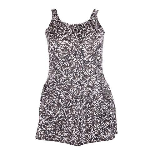 *Special Price* Women's Plus Size Swimdress with Extra Wide Straps - Leaf Play