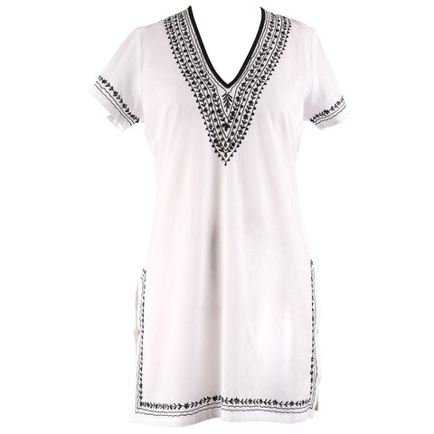 Plus Size Beach Cover Ups - Embroidered Tunic - Available in Black or White