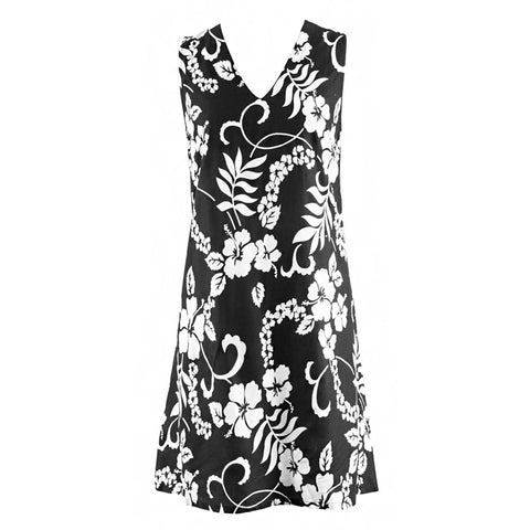 Plus Size Swim Cover Up - Easy On Cover Up Dress - Black Flowers