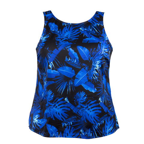 High Neck Women's Swimwear Top - Electric Blue