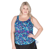 Plus size long swimsuit tops for women. Blue bathing suit top | Swimsuits Just For Us