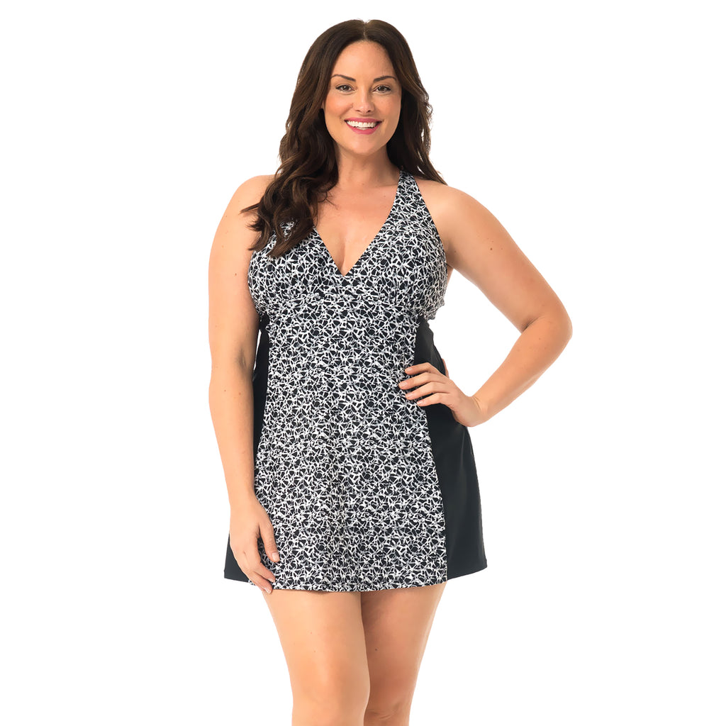Women's Plus Size Swimdress  - Black Sand