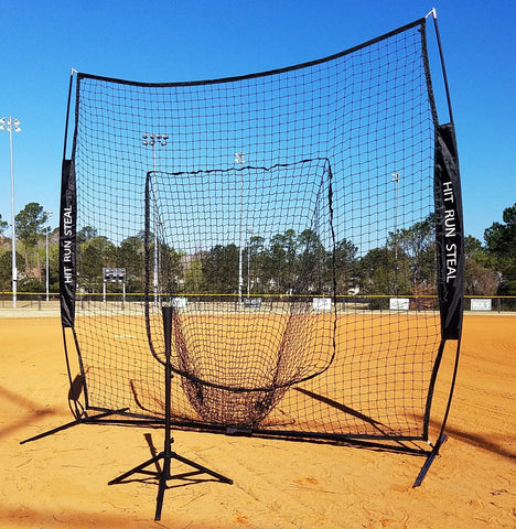 Baseball Softball Large Mouth Hitting Net -  7 x 7 Practice Net with Bow Frame LIFETIME WARRANTY  With Portable Baseball Softball Batting Tee